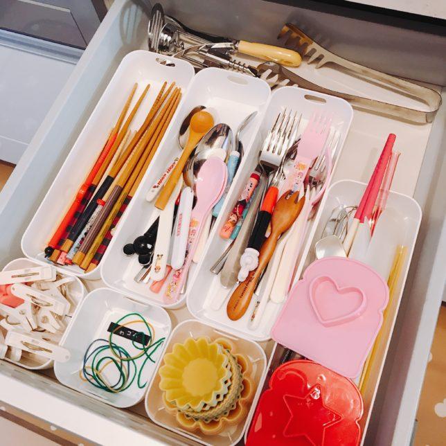 キッチンのカトラリー用の引き出しを100均アイテムで整理